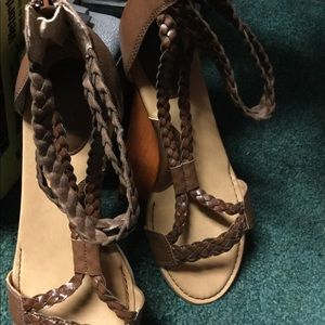 BOC Brown Braided Sandals with Zippered Back